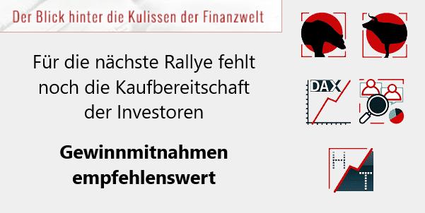 Für die nächste Rallye fehlt noch die Kaufbereitschaft der Investoren - Gewinnmitnahmen empfehlenswert